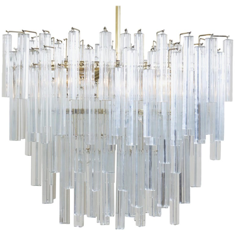 Oval Form Tiered Brass Prism Chandelier by Camer Glass For Sale