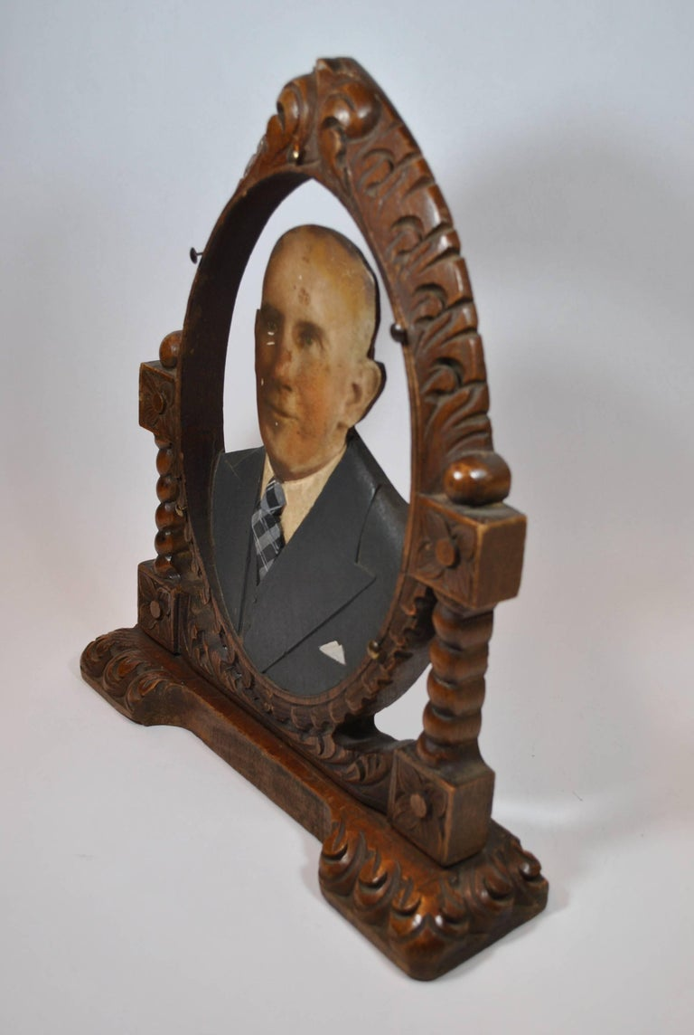 Art Deco Oval Fotoescultura of Old Bald Man For Sale