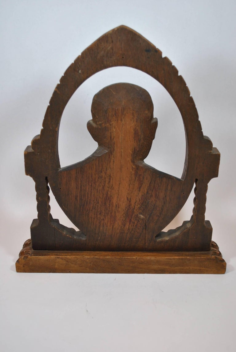 Mexican Oval Fotoescultura of Old Bald Man For Sale