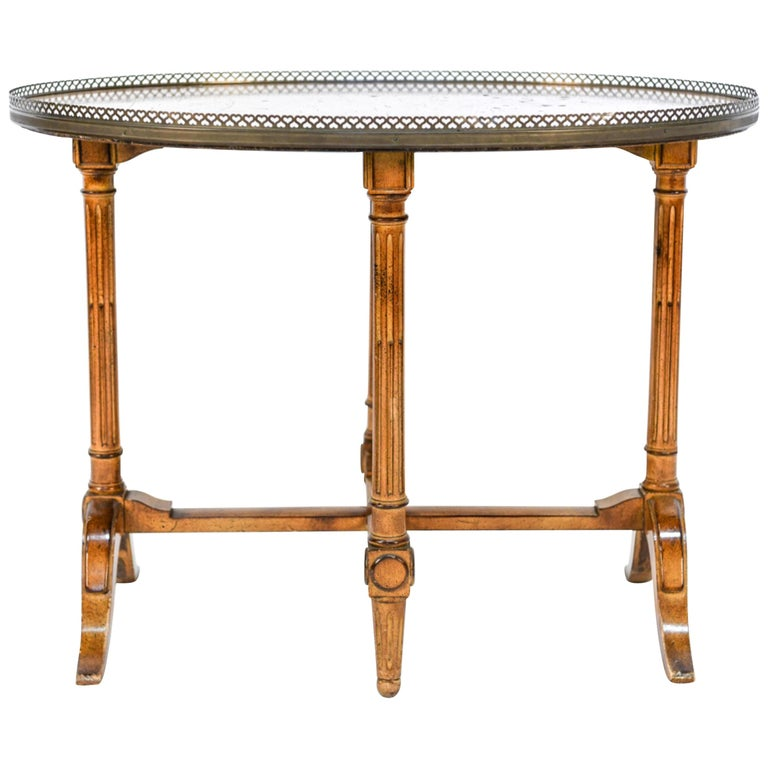 Oval French Table with Brass Gallery For Sale