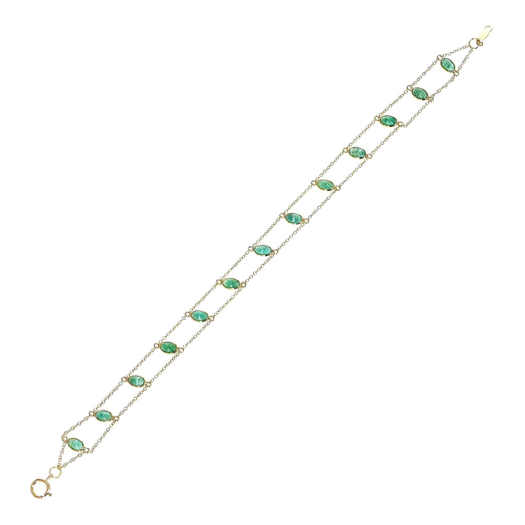 Oval Genuine Emerald 18k Yellow Gold Bracelet