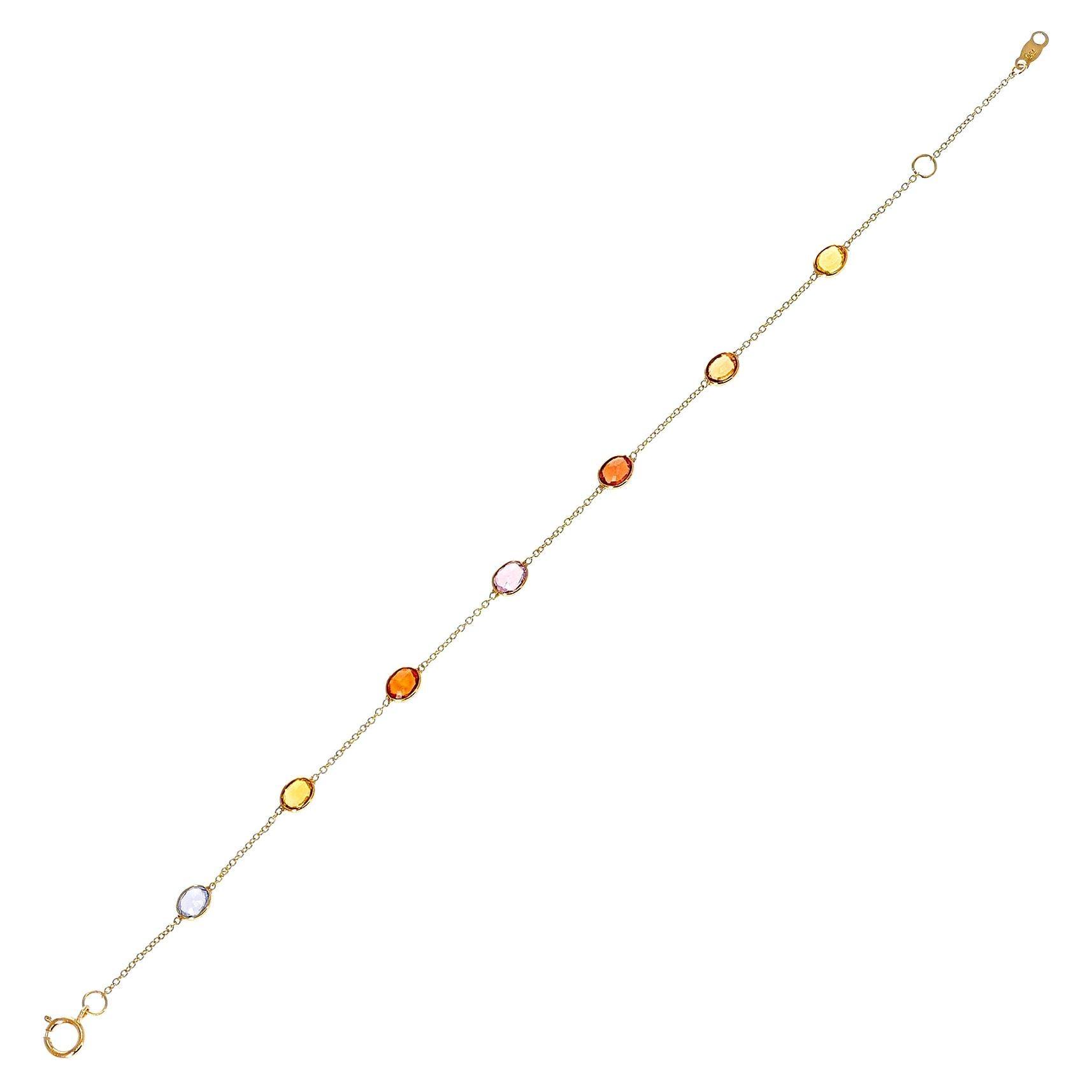 Oval Genuine Multi-Sapphire 18k Yellow Gold Bracelet