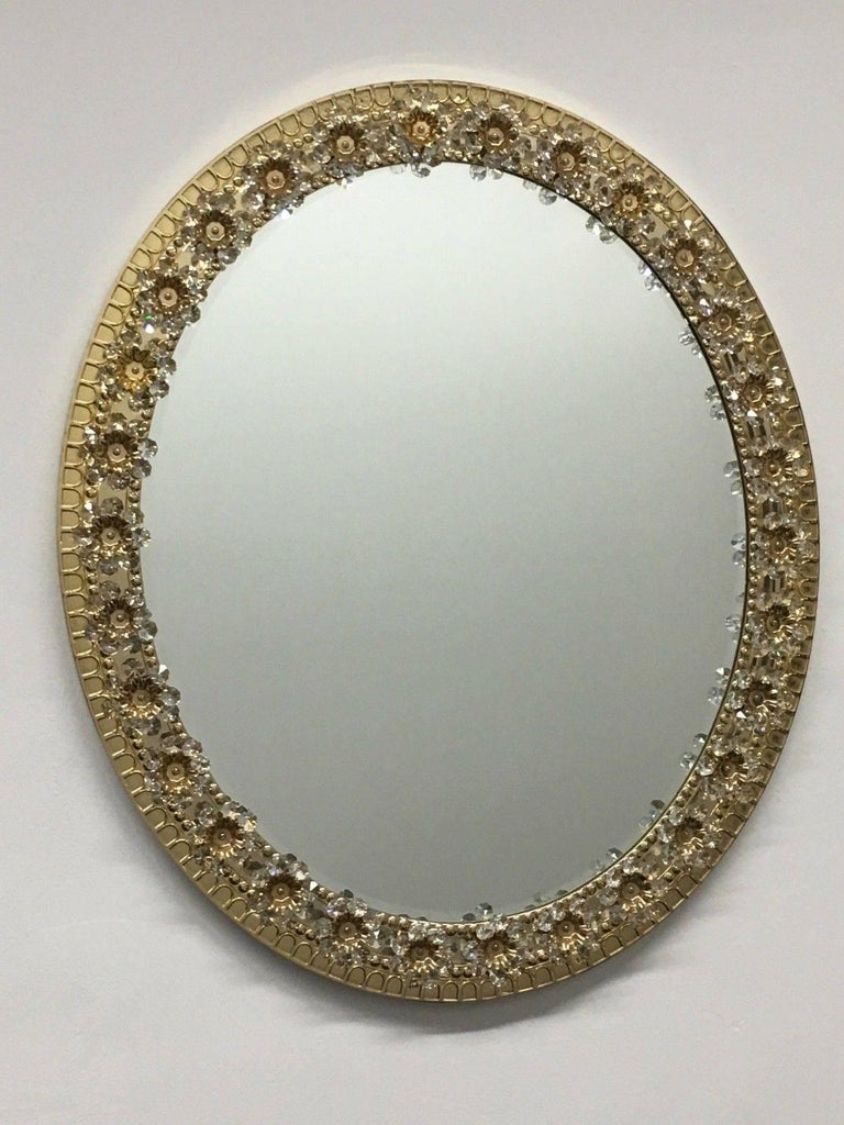 Oval Gilt Brass and Crystal Flowers Mirror by Palwa, circa 1960s For Sale 4