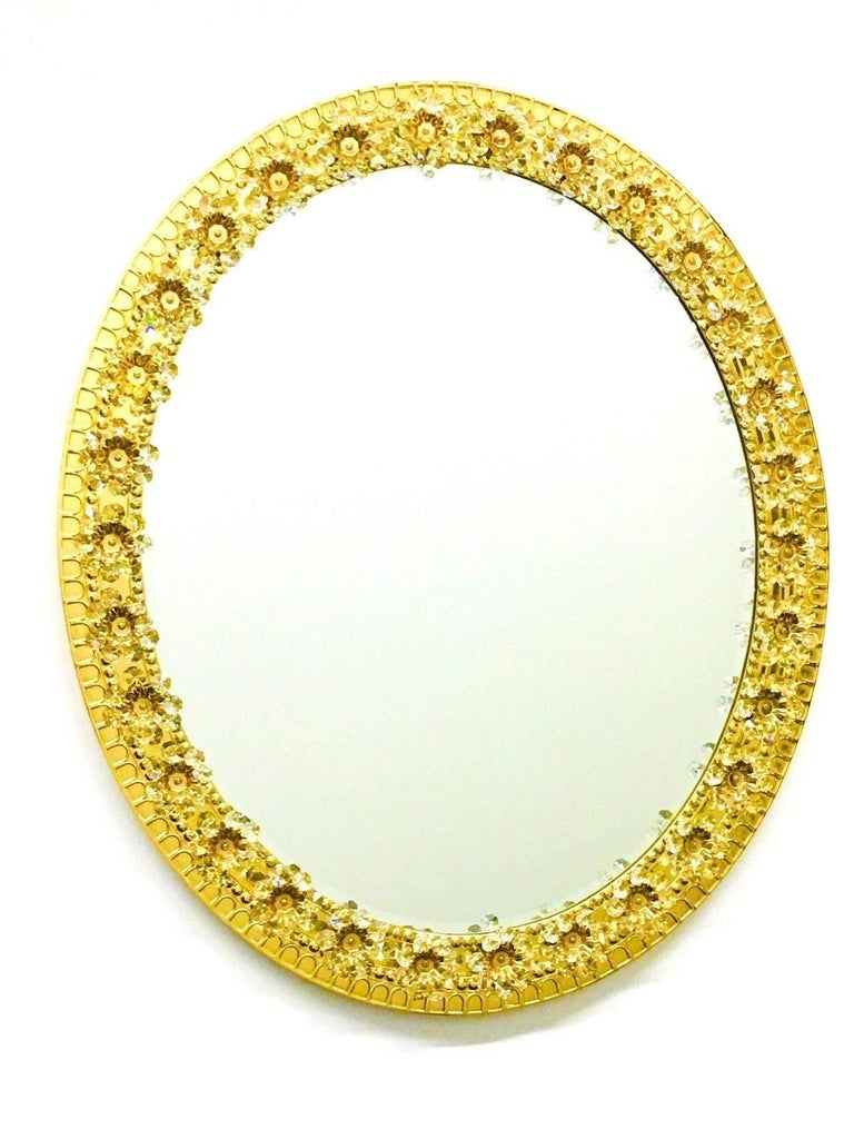 Oval Gilt Brass and Crystal Flowers Mirror by Palwa, circa 1960s For Sale 5