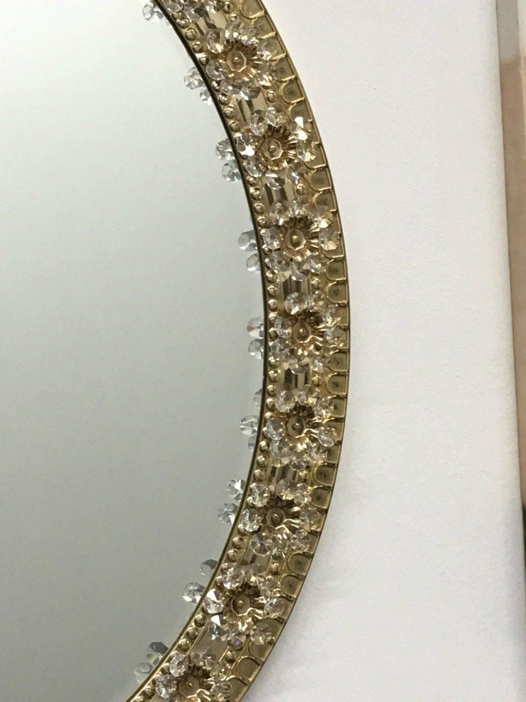 Metal Oval Gilt Brass and Crystal Flowers Mirror by Palwa, circa 1960s For Sale