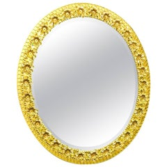 Oval Gilt Brass and Crystal Flowers Mirror by Palwa, circa 1960s