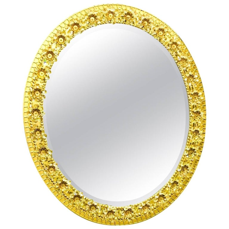 Oval Gilt Brass and Crystal Flowers Mirror by Palwa, circa 1960s For Sale