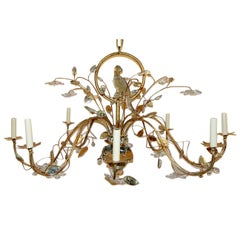 Oval Gilt Metal and Glass Bird Chandelier