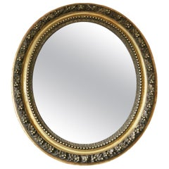 Antique Oval Gilt Overmantel Wall Mirror 19th Century Large