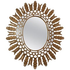 Oval Gilt Wood Mirror with Mirror Insets