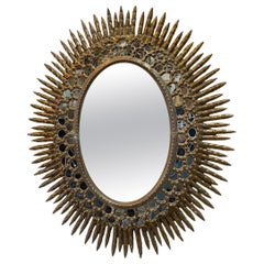 Oval Gilt Wood Sunburst Mirror