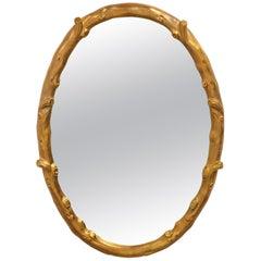 Oval Giltwood Faux Bois Mirror