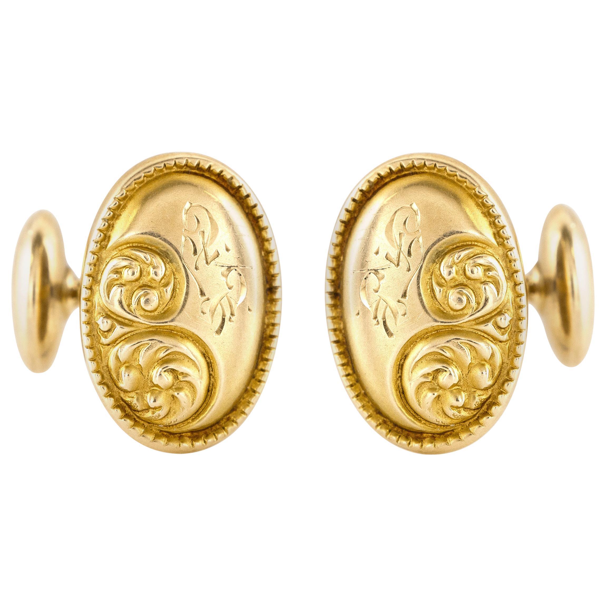 Oval Gold Floral Motif Cufflinks