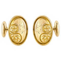 Oval Gold Floral Motif Cufflinks