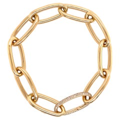 Oval Gold Link Chain Bracelet with Diamond Link