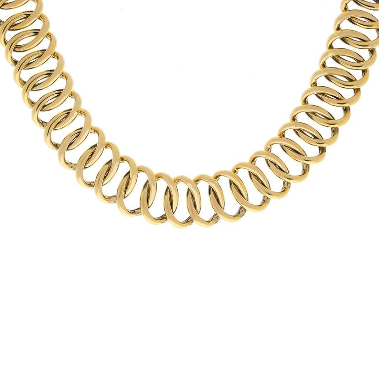 14K yellow gold large oval link necklace. This necklace is very comfortable and follows the shape and movement of your neckline.