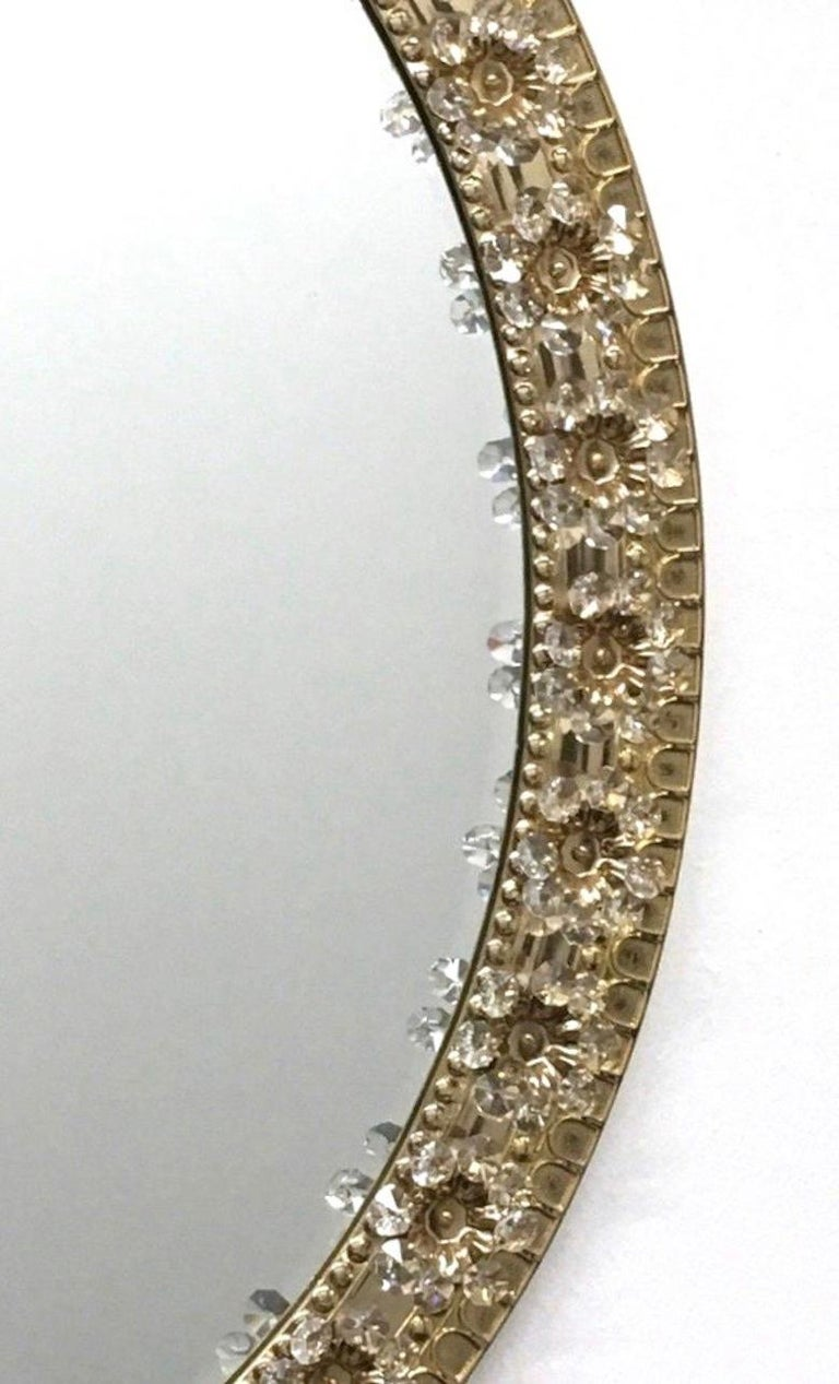 Metal Oval Gold Plated Brass and Crystal Flowers Mirror by Palwa, circa 1960s For Sale
