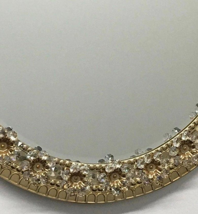 Oval Gold Plated Brass and Crystal Flowers Mirror by Palwa, circa 1960s For Sale 1