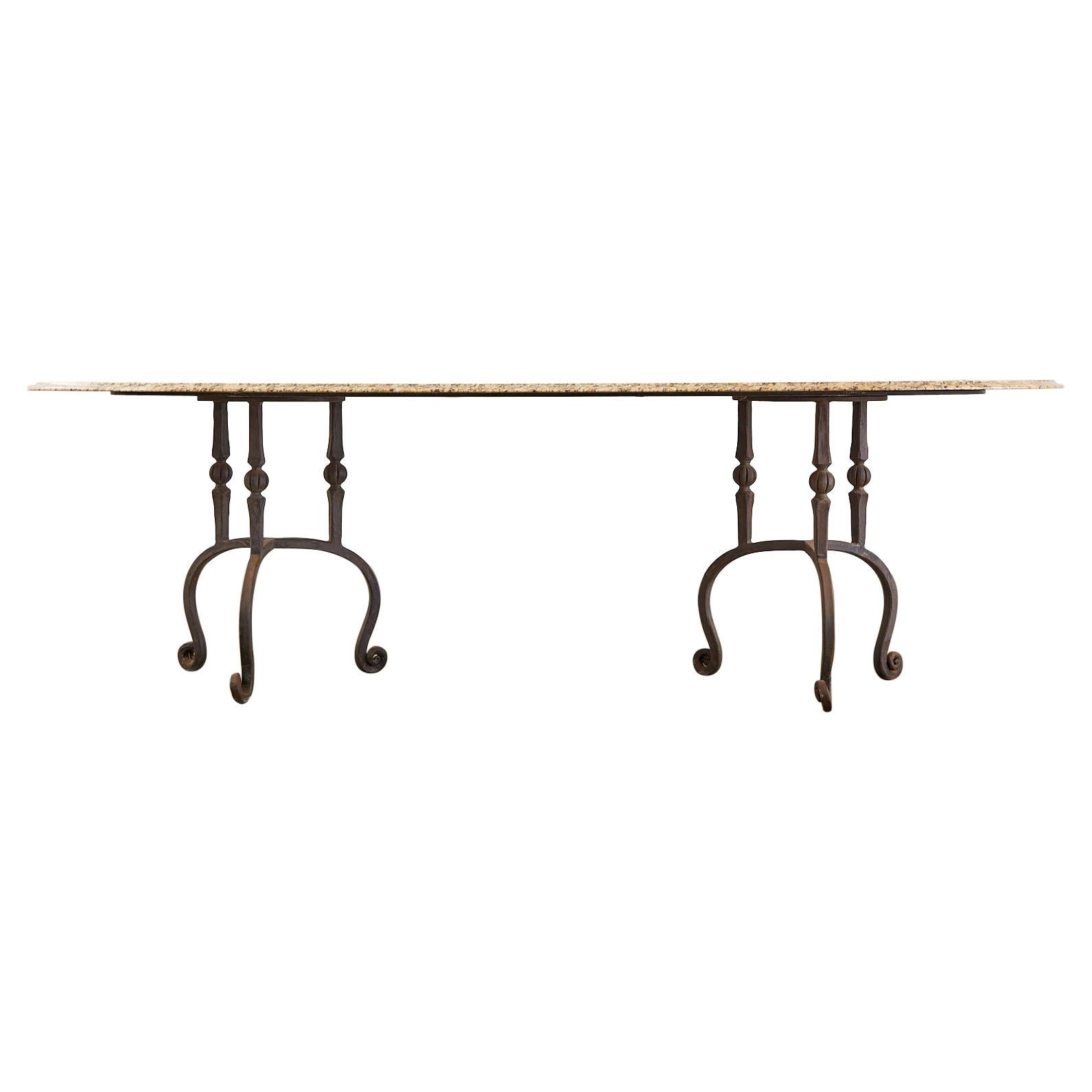 Oval Granite Wrought Iron Pedestal Dining Table