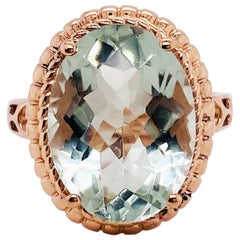 Oval Green Amethyst Rose Gold Ring, 14 Karat Gold 8.50 Carat Amethyst Gemstone