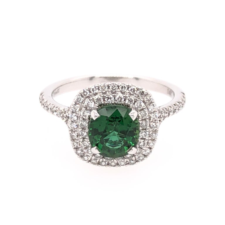 Modern Oval Green Chrome Tourmaline and White Gold Ring For Sale