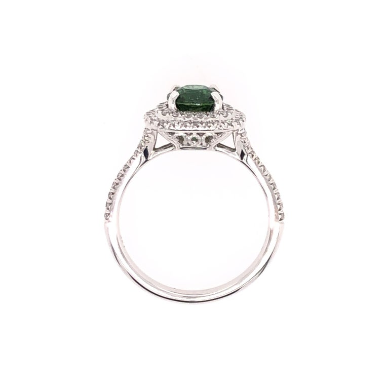 Oval Green Chrome Tourmaline and White Gold Ring For Sale 1