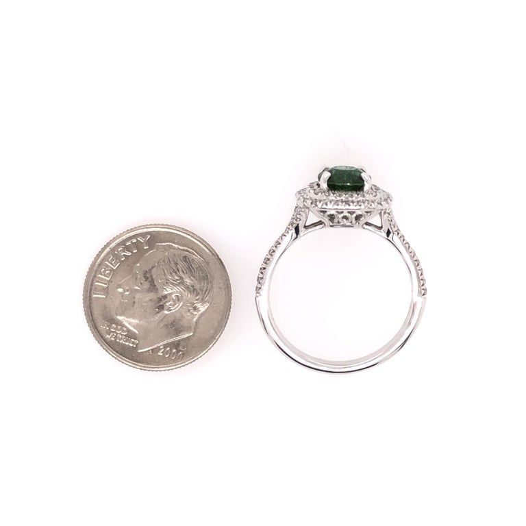 Oval Green Chrome Tourmaline and White Gold Ring For Sale 2