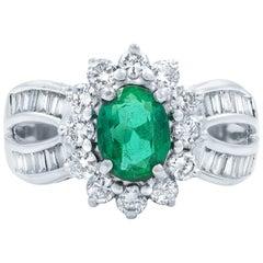 Oval Green Emerald 1.00 Carat Diamond 1.50 Carat Ring 18 Karat White Gold