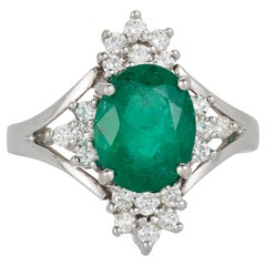 Oval Green Emerald Diamond Engagement Halo Ring 14 Karat White Gold Vintage