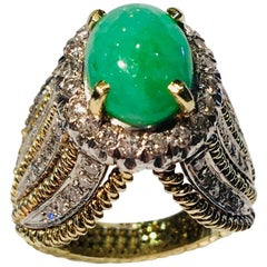 Oval Green Jade Diamond Halo Yellow Gold Fashion Ring with 1 Carat of Diamonds