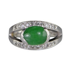 Oval Green Jade Diamond Retro Platinum Ring