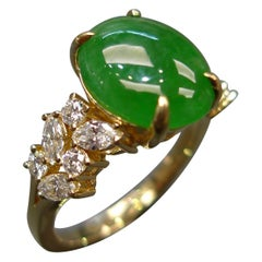 Oval Green Jade with Marquise Diamond and Round Diamond Engagement Ring