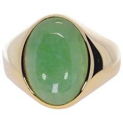 Oval Green Jadeite Jade in 14 Karat Yellow Gold 12 Grams