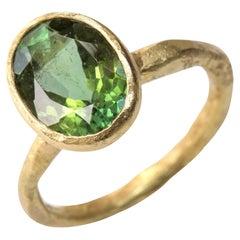 Oval Green Tourmaline 18 Karat Gold Textured Ring by Disa Allsopp