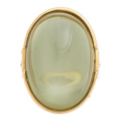 Oval Grey 15 Carat Cabochon Moonstone Diamond Yellow Gold Ring