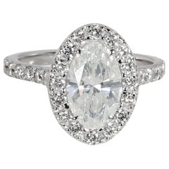 Oval Halo Diamond Ring in 18 Karat White Gold GIA Certified G SI1 2.06 Carat
