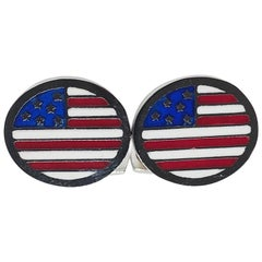 Oval Hand Enameled American Flag Little T-Bar Back Sterling Silver Cufflinks