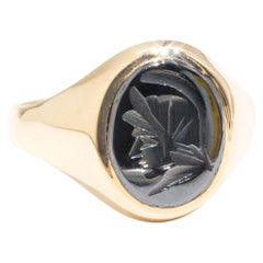 Oval Hematite 9 Carat Yellow Gold Mens Vintage Solitaire Signet Ring