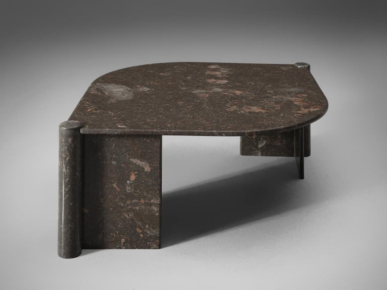 Mid-Century Modern Oval Italian Coffee Table in Marble For Sale