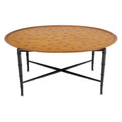 Oval Kittinger Coffee Table Faux Bamboo Tapered Legs Incised Leafs Design on Top