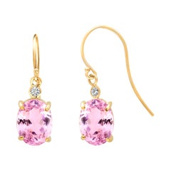 Oval Kunzite and Diamond Yellow Gold Hoop Drop Earrings Weighing 10.80 Carat