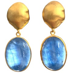 Oval Cabochon Kyanite Vermeil Drop Earrings