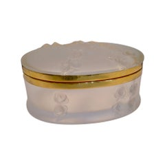 Oval Lalique Hinged Box with Gilt Metal Mounts