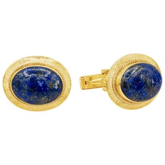 Oval Lapis Lazuli and 14 Karat Yellow Gold Cufflinks