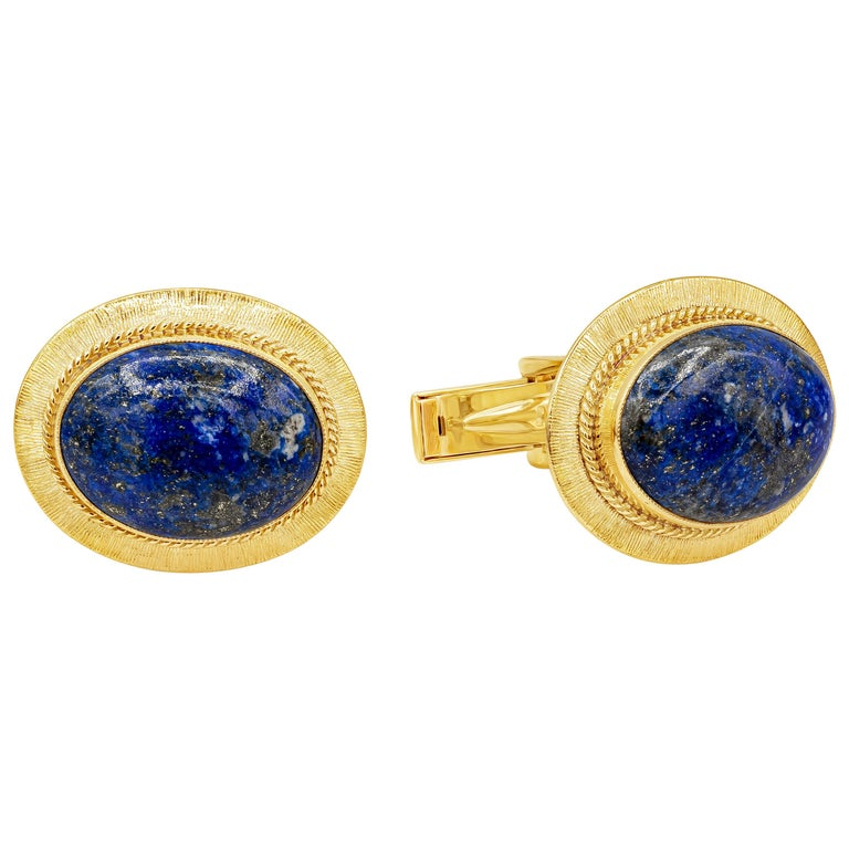 Oval Lapis Lazuli and 14 Karat Yellow Gold Cufflinks For Sale