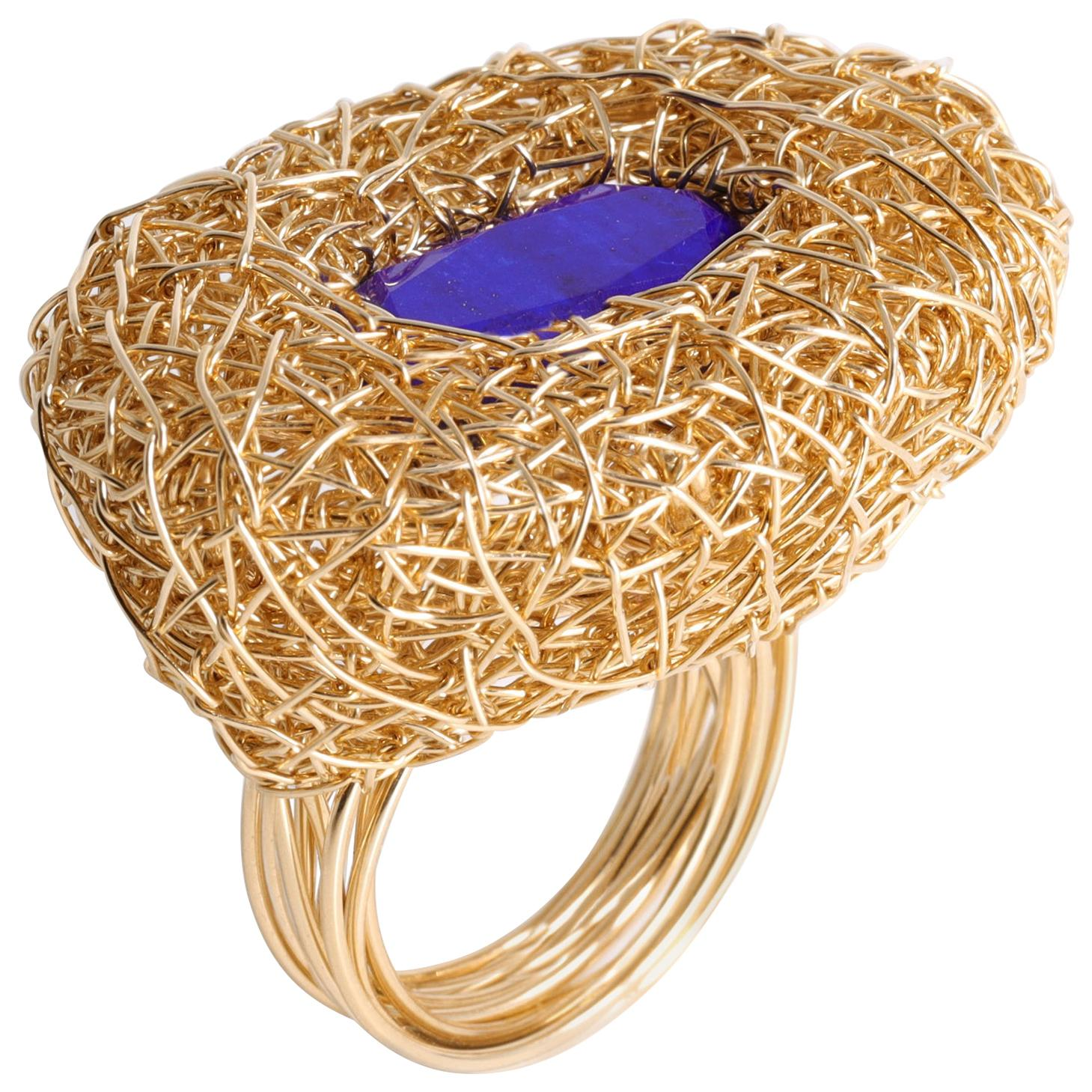 Super Blue Lapis Lazuli 14 k Gold F Woven Contemporary Cocktail Ring by Artist