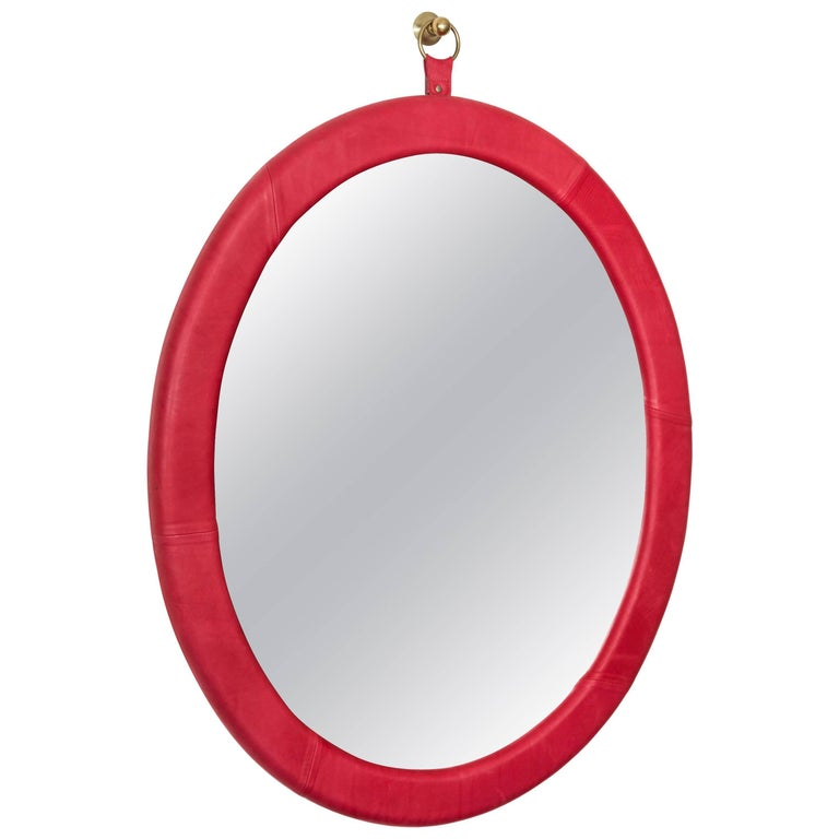 Oval Leather Mirror by Jason Koharik for Collected by for Lawson-Fenning For Sale