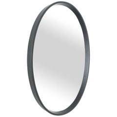 Oval Leather Wrapped Mirror in the Style of Pace