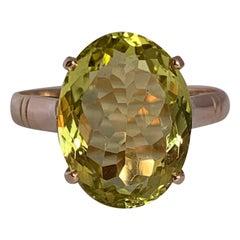 Oval Lemon Quartz Set in 14 Karat Yellow Gold Handcrafted Ring