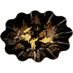 Oval Lobed Bowl Papier Maché Hand Decorated with Gilded Chinoiserie, France